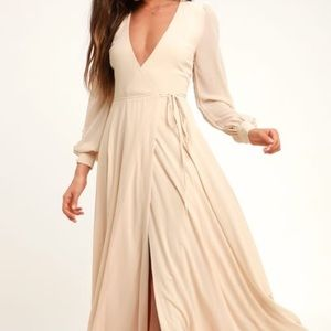 Lulus My Whole Heart Cream Long Sleeve Maxi Dress
